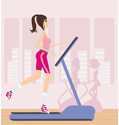 Girl runs on a treadmill vector