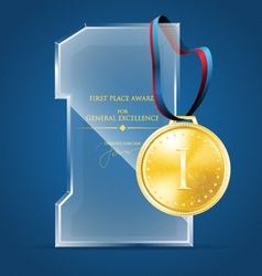 Glass award and a gold medal vector