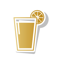 Glass of juice icons golden gradient icon vector