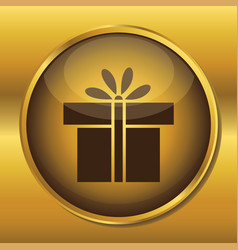gold button web icon present box vector image