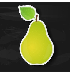 Green pear isolated on black background vector image
