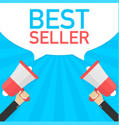 Hand holding megaphone with best seller vector