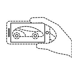 hand holding smartphone gps navigation car vehicle vector image