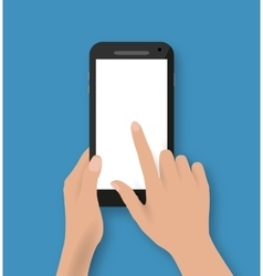 Hand touching screen of white phone vector image