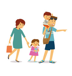 happy family with two kids traveling vector image
