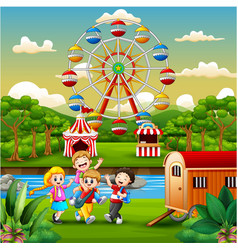 Happy kids group playing on the amusement park vector