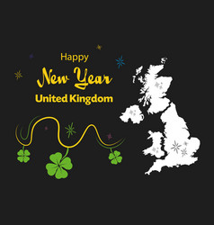 Happy new year theme with map of united kingdom vector