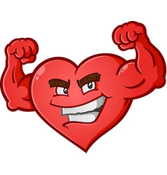 heart flexing muscles cartoon character vector image