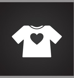 Heart t-shirt icon on black background for graphic vector