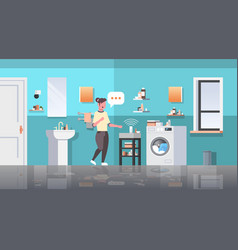 housewife using smart speaker voice recognition vector image