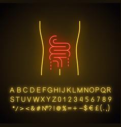 Ill intestines neon light icon sore human organ vector