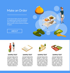 isometric hotel icons landing page template vector image