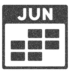 June Calendar Grid Grainy Texture Icon vector