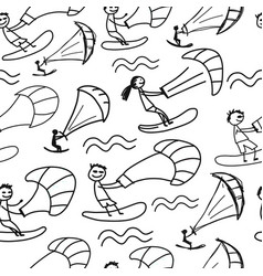 kiteboarding seamless pattern for your design vector image