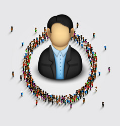 large group of people in the shape of circle vector image