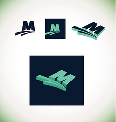 letter m logo set green vector image
