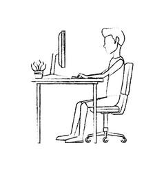 Man character sitting working desk computer vector