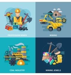 Mining Icons Flat Set vector image