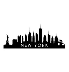 new york skyline silhouette black new york city vector image