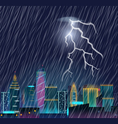 night cityscape with lightning flash and heavy vector image