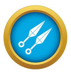 Ninja weapon kunai icon blue isolated vector