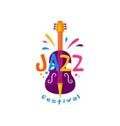 original flat emblem for jazz festival vector image