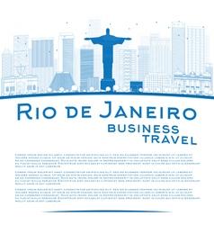 Outline Rio de Janeiro skyline vector image