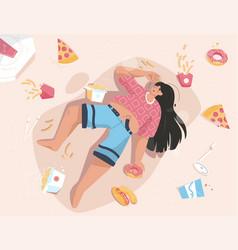 Overweight woman lies among fast junk food vector