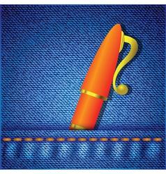 pen in jeans pocket vector image