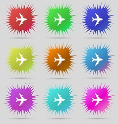 Plane icon sign A set of nine original needle vector