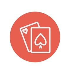 Playing cards thin line icon vector image