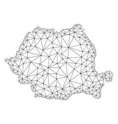 Polygonal carcass mesh map of romania vector