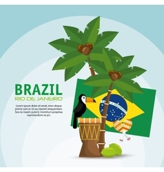 poster brazil macaw drum palm flag vector image