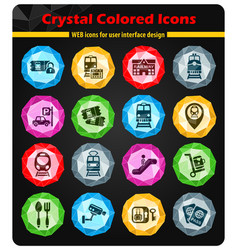 Railway station icon set vector