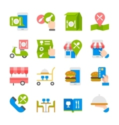 Restaurant food ordering on line icons vector image vector image