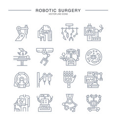 Robotic surgery icons vector