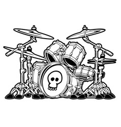 rock drum set cartoon vector image