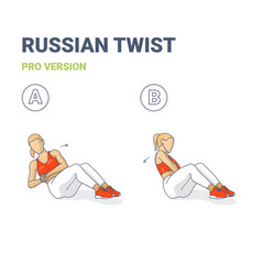 Russian twists female home workout exercise guide vector