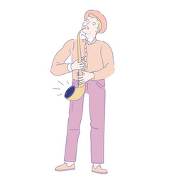 saxophonist musician with saxophone jazz music vector image