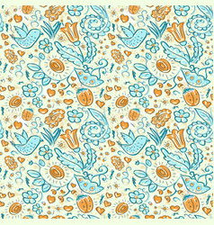 Seamless doodles birds and flowers grunge pattern vector