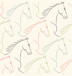 Seamless pattern with horses pale pastel colors vector