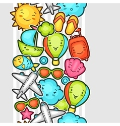 Seamless travel kawaii pattern with cute doodles vector