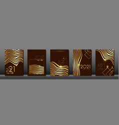 set cards 2021 happy new year gold zebra texture vector image