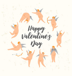 set cute cupids happy valentine s day vector image