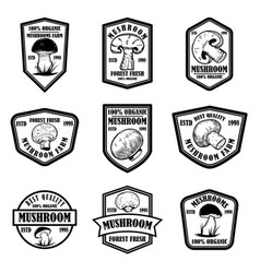 set emblems with mushrooms design element vector image