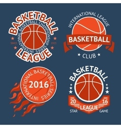 Set of basketball labels with balls and ribbons vector