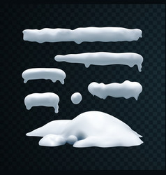 Set of snow caps snowball and snowdrift vector