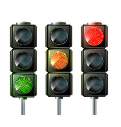 set of traffic lights isolated on white vector image