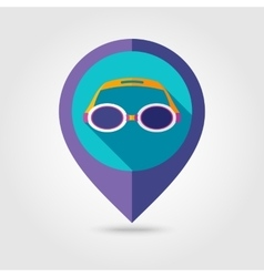 Swimming goggles flat mapping pin icon vector