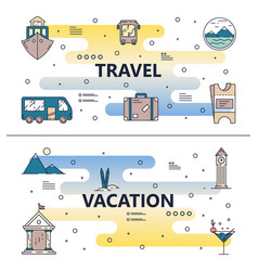 Thin line travel poster banner template set vector